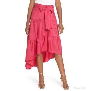 Eliza J Tiered High/Low Hot Pink Skirt w/Bow Belt
